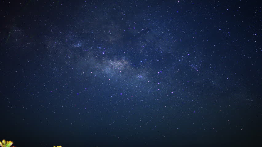 Astrophotography Time Lapse with zoom out motion of Milky Way Galaxy & Moon Rise over Tropical Jungle