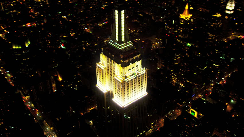 New York - August 20: Aerial view of Midtown Manhattan, illuminated Empire State Building, Observation Point, New York, USA, shot on RED EPIC | Shutterstock HD Video #4289036