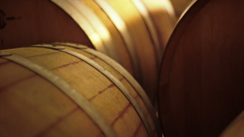 Wine barrels in the new cellar of the winery