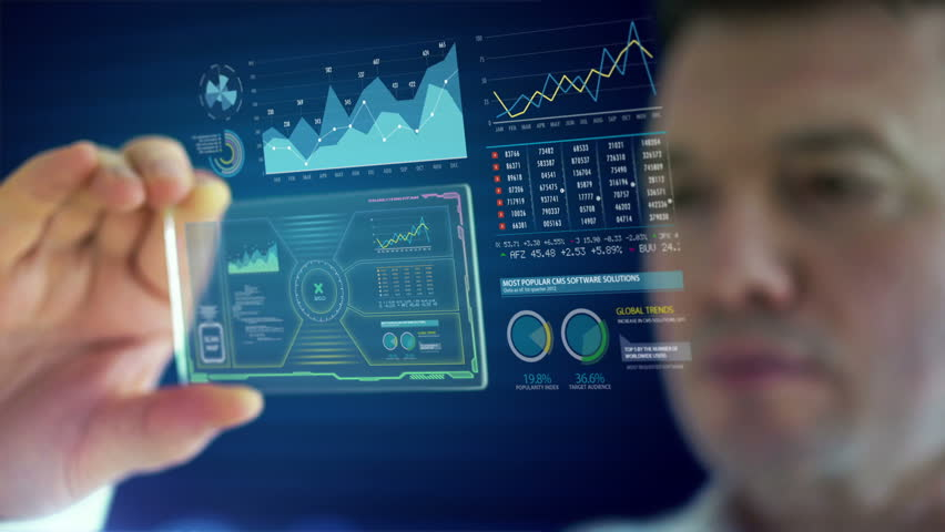 HD 1080 video of a businessman using futuristic tablet to analyze financial data | Shutterstock HD Video #4298027