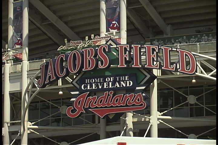 CLEVELAND, OHIO - JUNE 22, 2002: Jacob's Field sign - SD stock footage clip