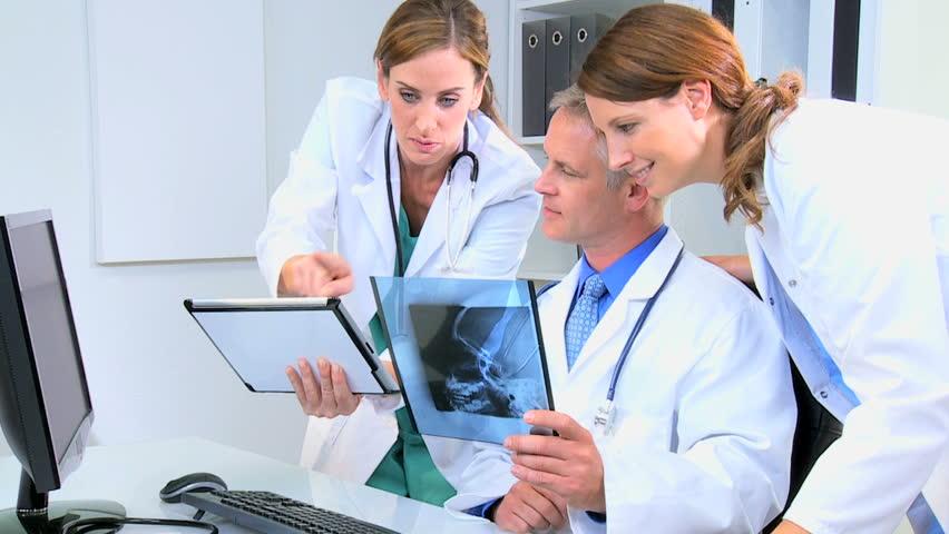 Caucasian Male Female Doctor Consultant Indoors Medical White ...