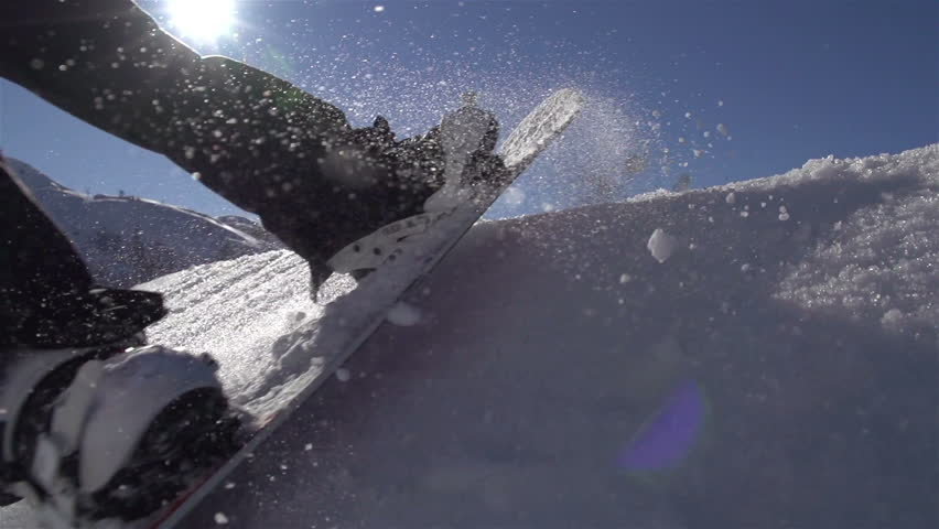 SLOW MOTION: Snowboarding jumping on a kicker
