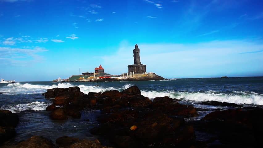 Shot Of Waves Crashing On The Rocks, Thiruvalluvar Statue, Swami Vivekananda Rock Memorial ...
