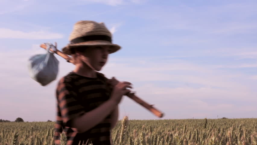 A boy wanders through a corn field with all he owns wrapped in an old bandanna on a stick. Is he a modern Sawyer or Huckleberry Finn? Perhaps he's an abandoned orphan or a child refugee far from home. - HD stock video clip