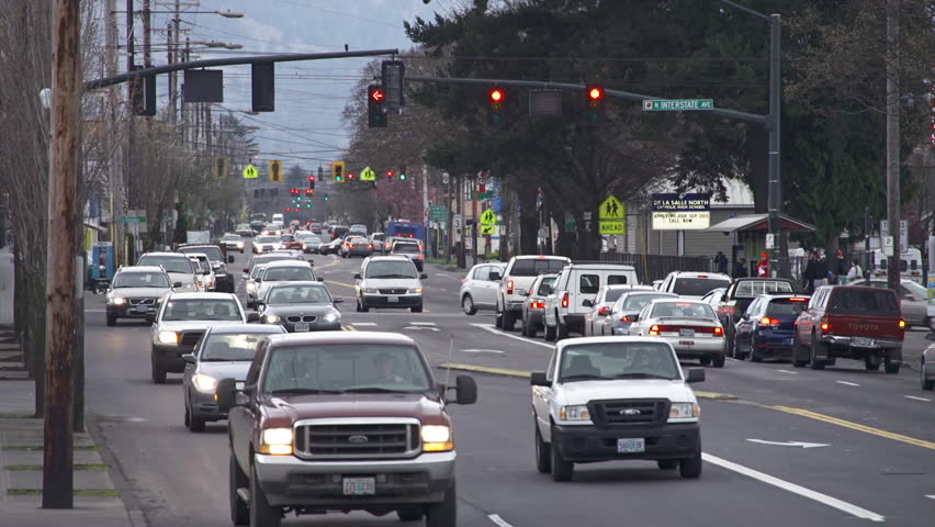 PORTLAND, OR - MARCH 2013 - Traffic drives on Interstate Avenue in March 2013 in