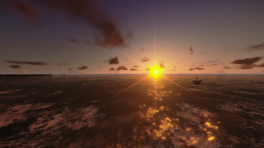 Oil Rig, flight across ocean, timelapse night to day