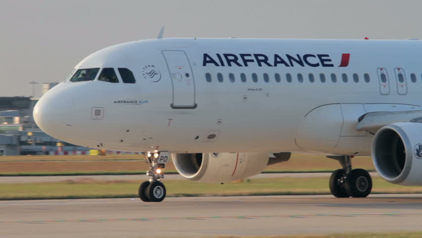 MANCHESTER, LANCASHIRE/ENGLAND - JULY 17: Close up of Air France Airbus A320 plane fuselage and cockpit on July 17, 2013 in Manchester. Air France merged with KLM in 2003.