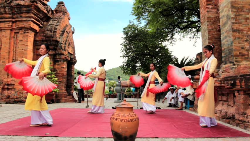 Nha Trang - JULY 18: Local folk dance show at Po Nagar towers on July 18, 2013 in Nha Trang, Vietnam. Po Nagar is a Cham temple tower founded sometime before 781 . - HD stock video clip
