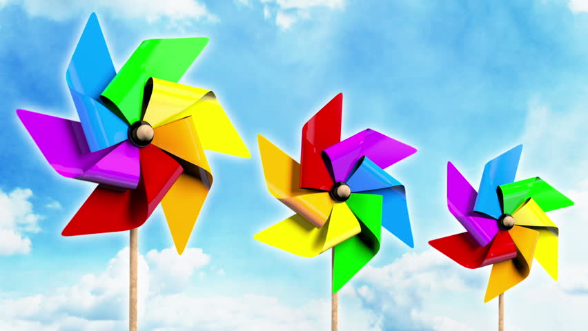 rainbow spinning pinwheels on the sky