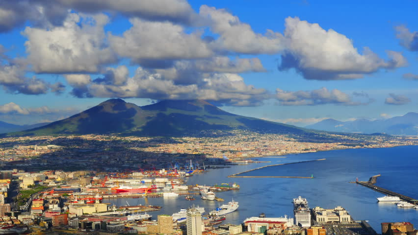 Naples skyline, port and Vesuvius volcano view, time-lapse. #4414739