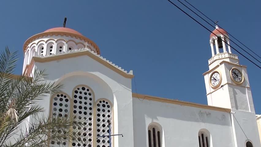 Kastellorizo, Greece - July 20, 2013: Greek church building - HD stock footage clip