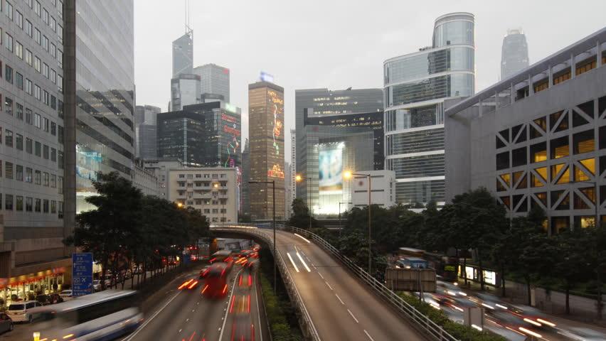 Hong Kong landmark and city traffic at night