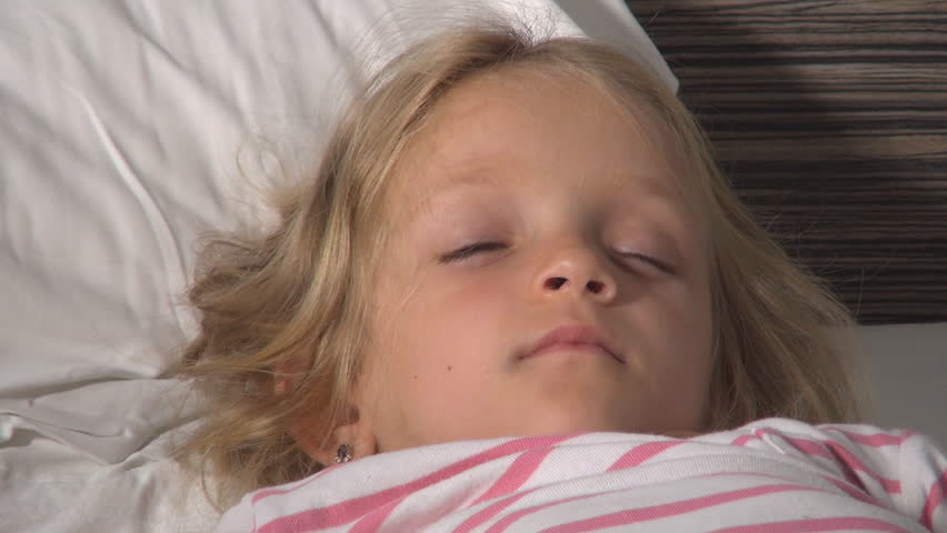 Sleeping Child, Tired Little Girl Taking a Nap, Bedtime, Dreaming Children - HD stock video clip