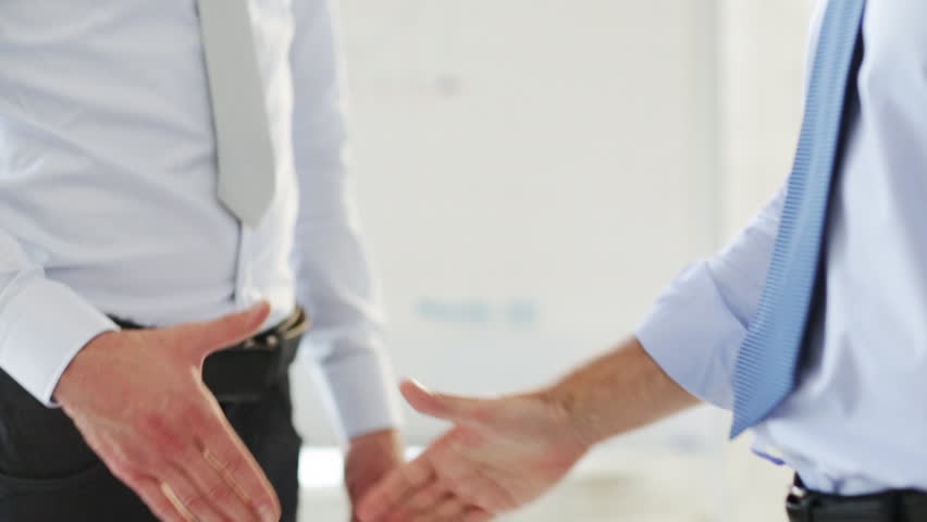 Business handshake - two businessmen shaking their hands