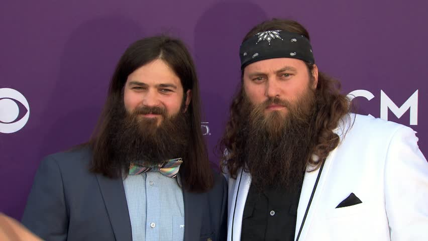 LAS VEGAS - April 7, 2013: Jep Robertson and Willie Robertson and Duck Dynasty at the Academy of Country Music Awards 2013 in the MGM Grand Garden Arena in Las Vegas April 7, 2013