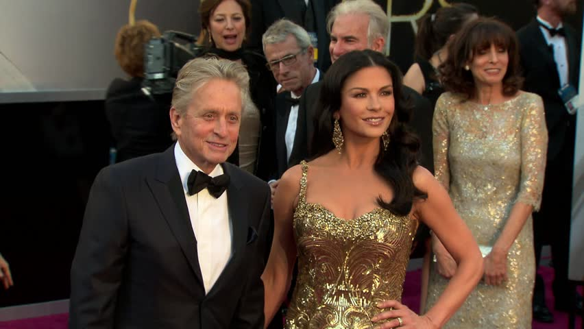HOLLYWOOD - February 24, 2013: Catherine Zeta Jones and Michael Douglas at the Academy Awards 2013 in the Dolby Theatre in Hollywood February 24, 2013