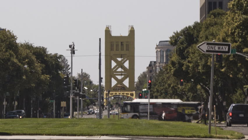 Sacramento, California - August, 2013 - Medium shot of Tower Bridge.