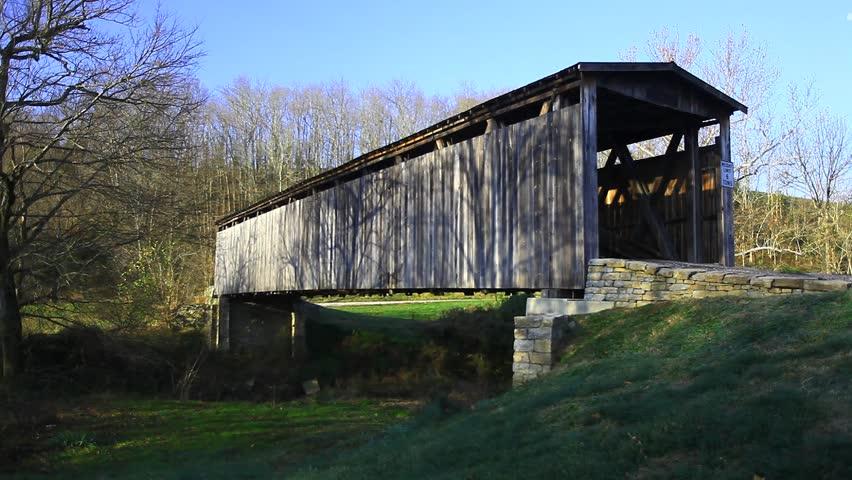 Johnson Creek Covered Bridge, Kentucky - HD stock video clip