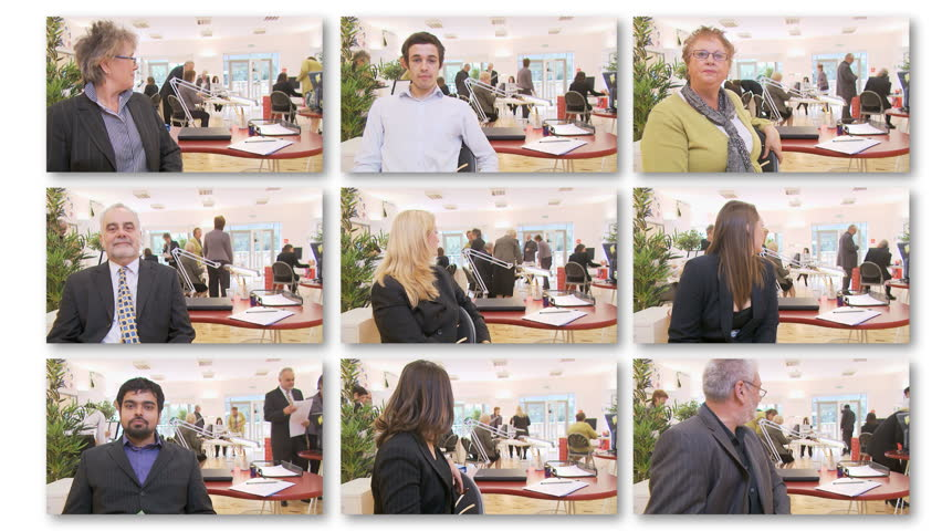 Business montage with multiple managers - choose your business boss. High quality HD video footage