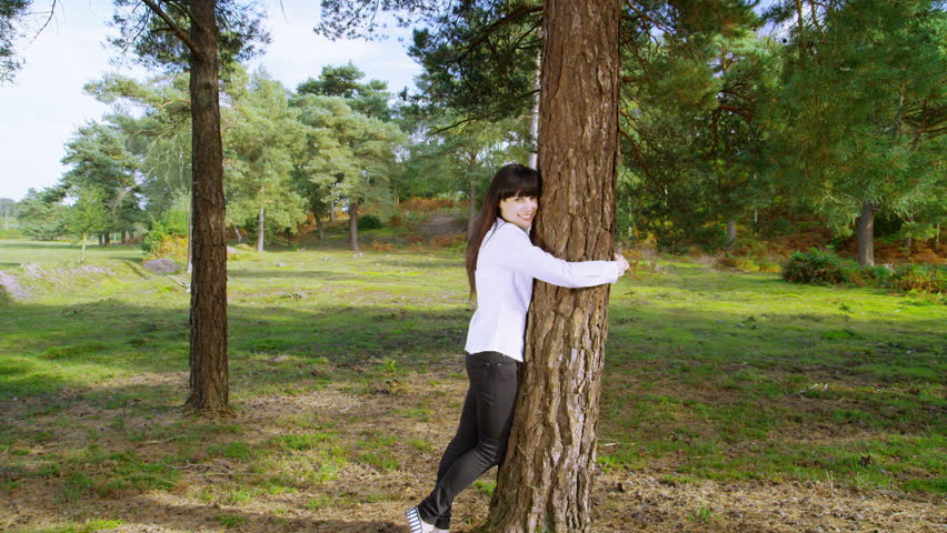 Green environmental business concept with person hugging tree in nature. Corporate businessmen and businesswomen surrounded by summer trees and grass. Corporate responsibility concept. - HD stock video clip