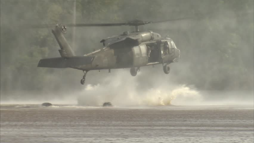 Military, Special operation soldiers jumping from helicopter