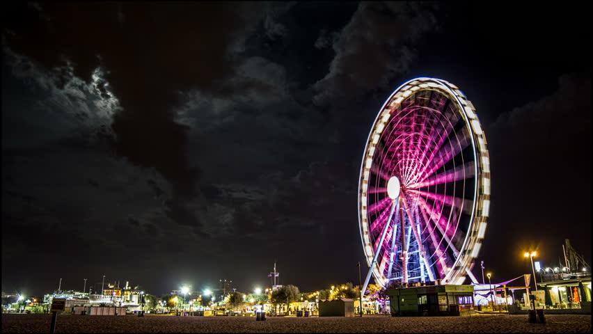 Timelapse Ferris Wheel full moon - HD stock footage clip