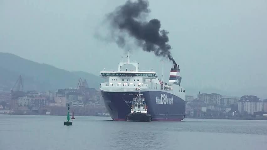 EL ASTILLERO, SPAIN - AUG 23: RORO SHIP VILLE DE BORDEAUX at EL ASTILLERO dockyard, 08/23/2013. - HD stock footage clip