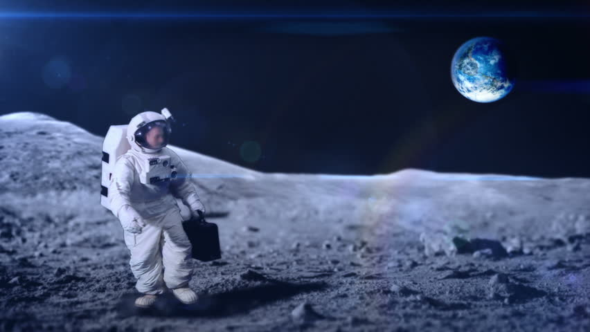 Astronaut arrives at the moon and places briefcase on the ground