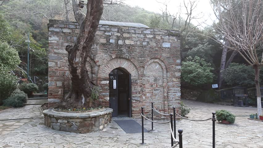 The House of the Virgin Mary (Meryemana) on Mt. Koressos in Turkey. This house used by the Virgin Mary after the crucifixion and finally accepted to have been the home of Virgin Mary, mother of Jesus.   Shutterstock HD Video #4519868