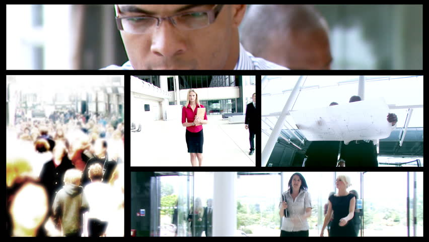 Montage of business people working in modern office building - HD stock video clip