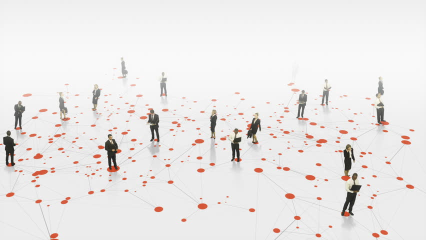 Business people in white space communicating with digitally animated lines connecting them