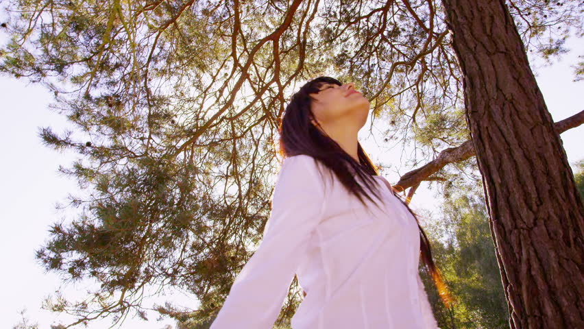 Woman in nature.  Business freedom from the office. Green environmental business concept with person in nature. Corporate business men and women surrounded by summer trees and grass. Corporate responsibility concept. - HD stock video clip