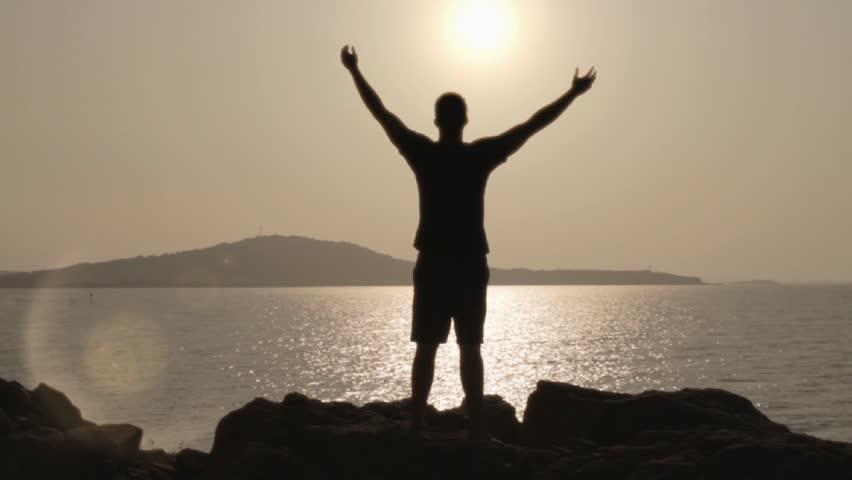 Victory Pose Sea Sunse...
