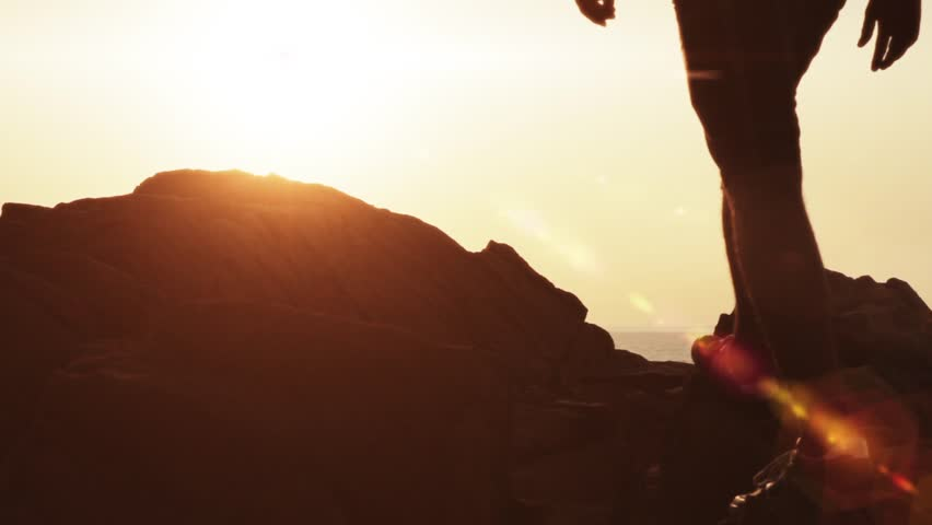 Sunset Beach silhouette Man Walking Lens flare HD | Shutterstock HD Video #4540685
