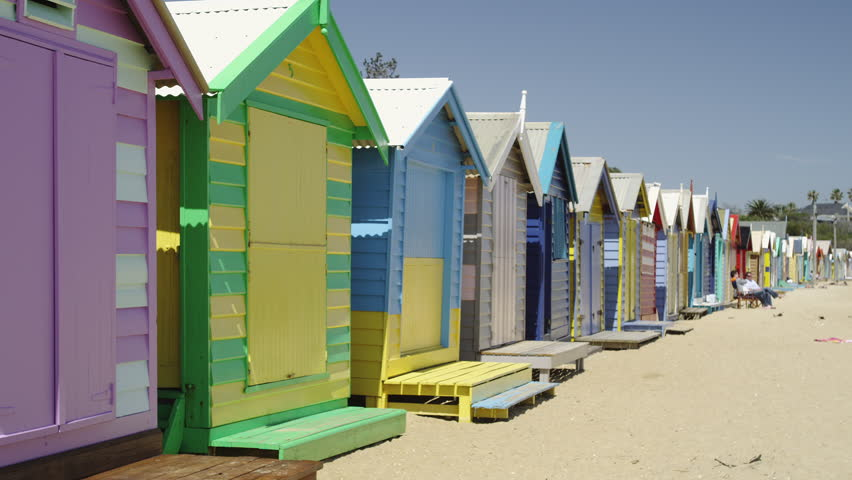 Melbourne colorful beach houses at brighton beach stock for Beach house designs melbourne