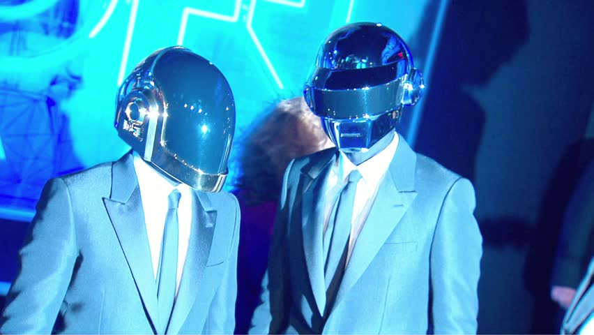 HOLLYWOOD - December 11, 2010: Daft Pun, Guy Manuel de Homem Christo and Thomas Bangalter, at the TRON: Legacy Premiere in the El Capitan Theatre in Hollywood December 11, 2010