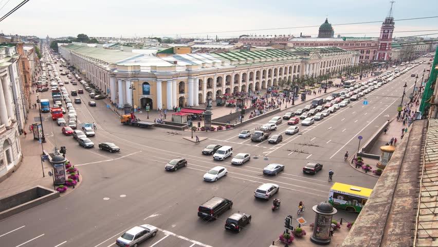 Bird's-eye view time-lapse St. Petersbourg center (timelapse full HD)