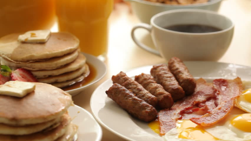 Breakfast foods, dolly movement - HD stock video clip