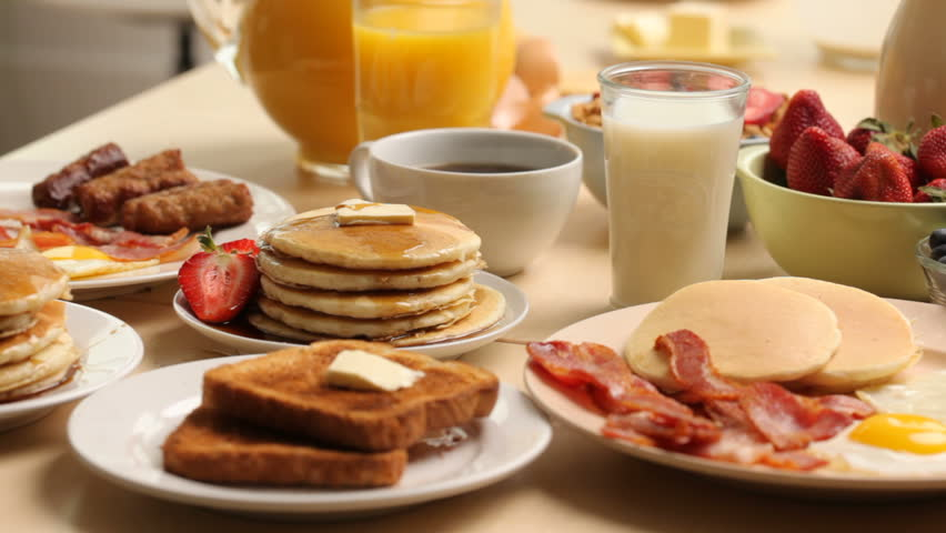 Variety of breakfast foods - HD stock footage clip