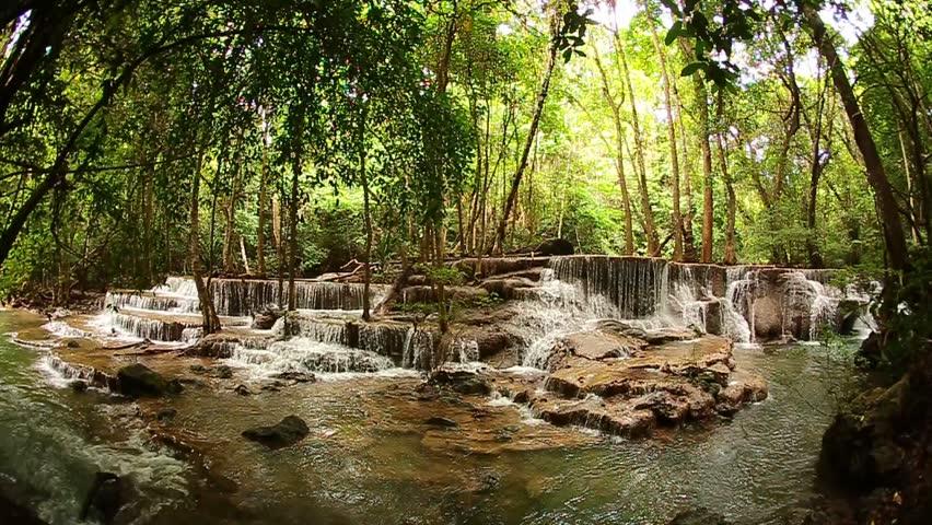 Paradise Waterfall (Huay Mae Kamin Waterfall) in Kanchanaburi, Thailand.