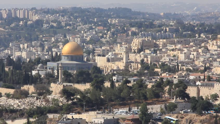 The holy city, new Jerusalem, coming down from out of heaven - HD stock footage clip