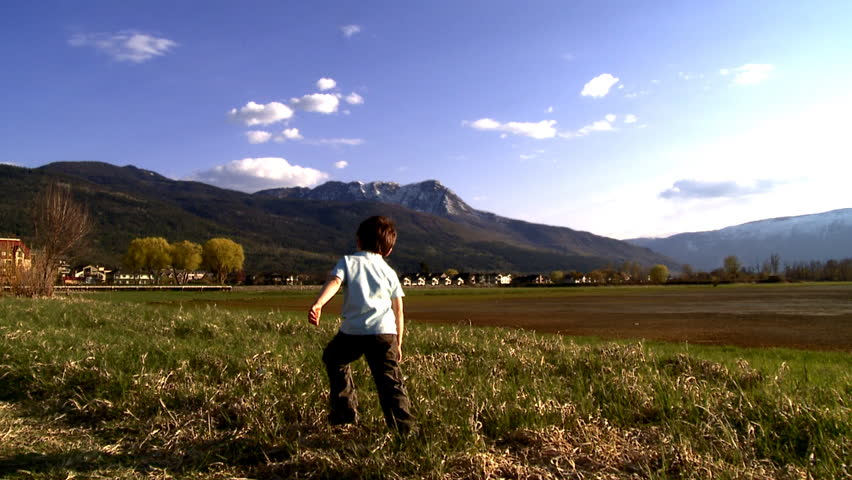Young boy walking in nature - HD stock footage clip