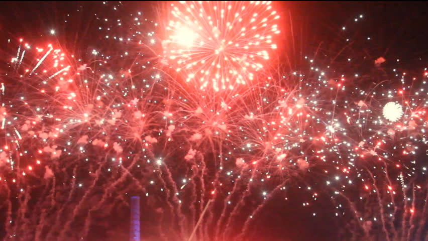 Colorful fireworks at holiday night - HD stock footage clip