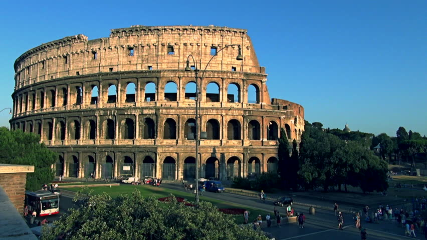 Colosseum At Sunset. Rome, Italy. Time Lapse Stock Footage