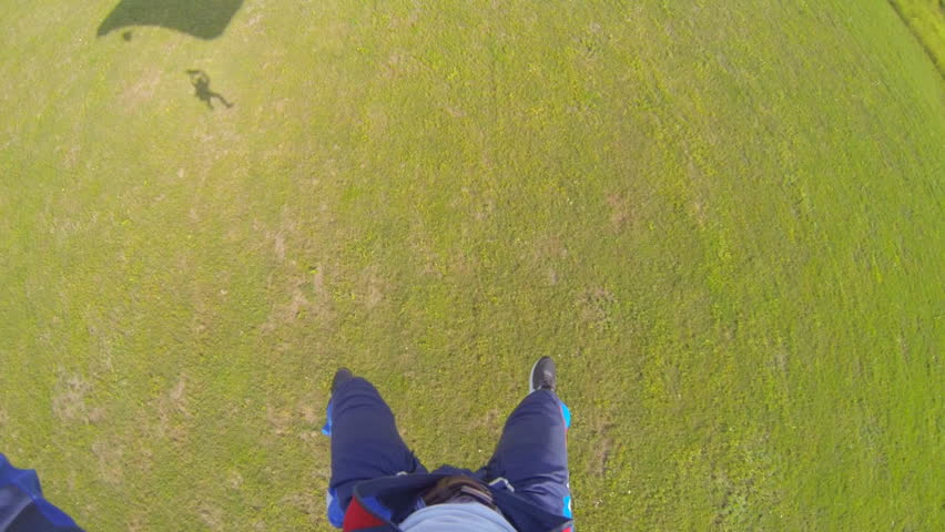 Video parachute jumps (skydiving) from a first-person