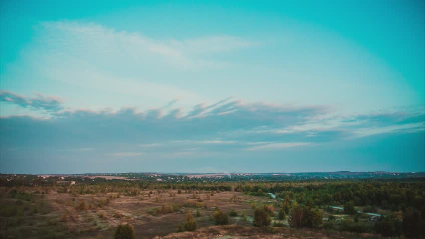 The horizon line and a fast-moving clouds - HD stock footage clip