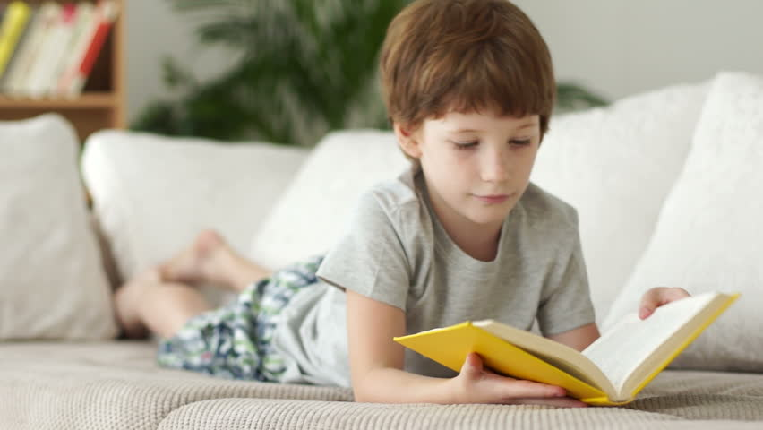 Little boy lying on sofa with book and smiling
