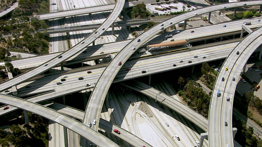 Los Angeles freeway, aerial shot
