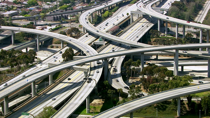 Aerial view of Los Angeles freeway intersection | Shutterstock HD Video #4587008